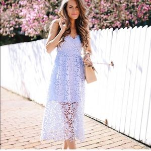 Astr The Label Lace Midi Periwinkle Dress